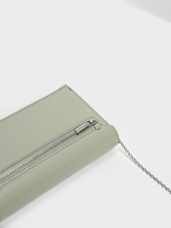 Chain Link Long Wallet, Sage Green, hi-res