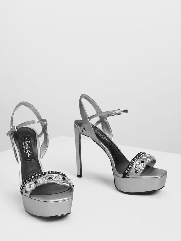 Leather Bedazzled Platforms, Silver