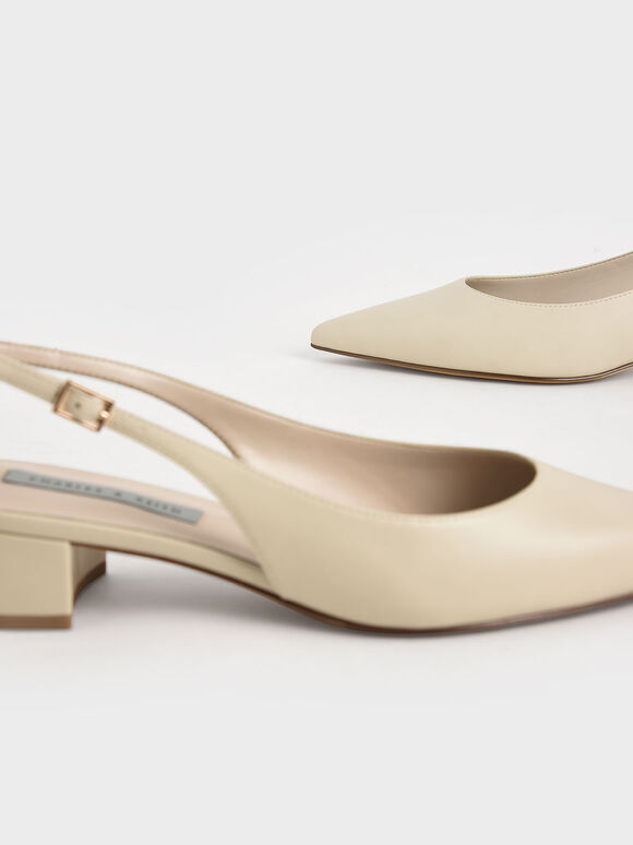 Pointed Toe Slingback Pumps, Chalk, hi-res