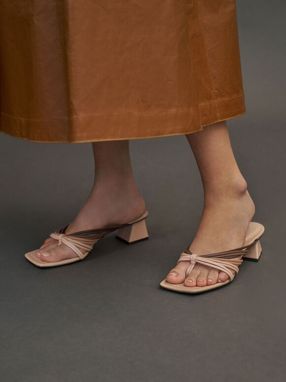 Strappy Thong Sandals, Nude, hi-res