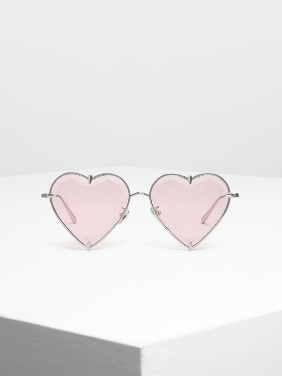 Thin Metal Frame Heart-Shaped Sunglasses, Pink, hi-res