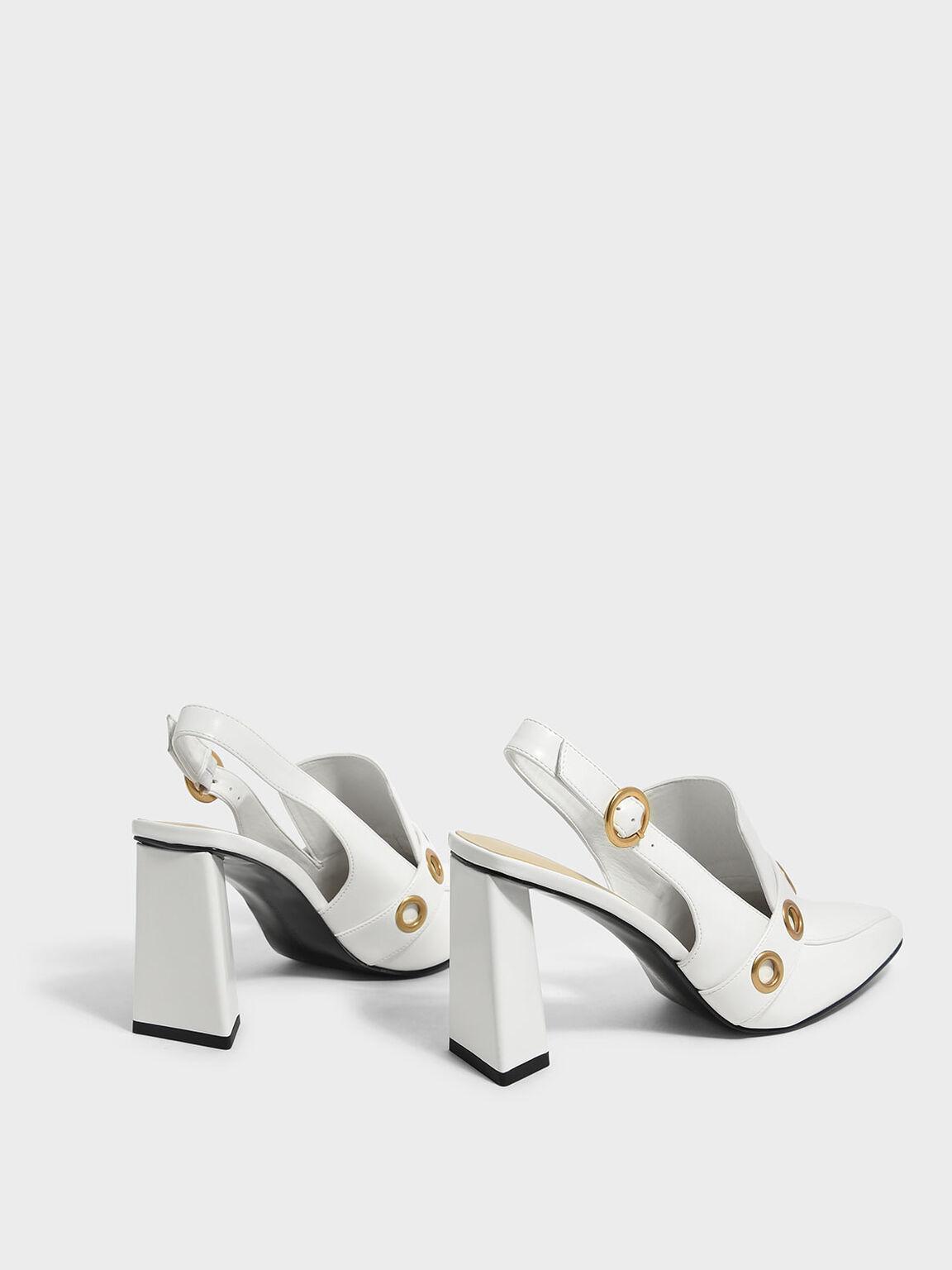 Rivet Detail Slingback Heels, White, hi-res