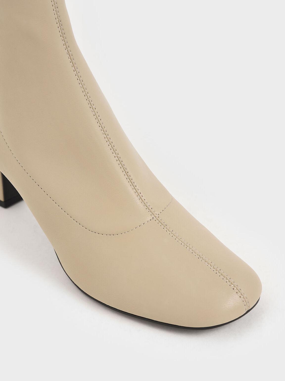 Spool Heel Ankle Boots, Beige, hi-res