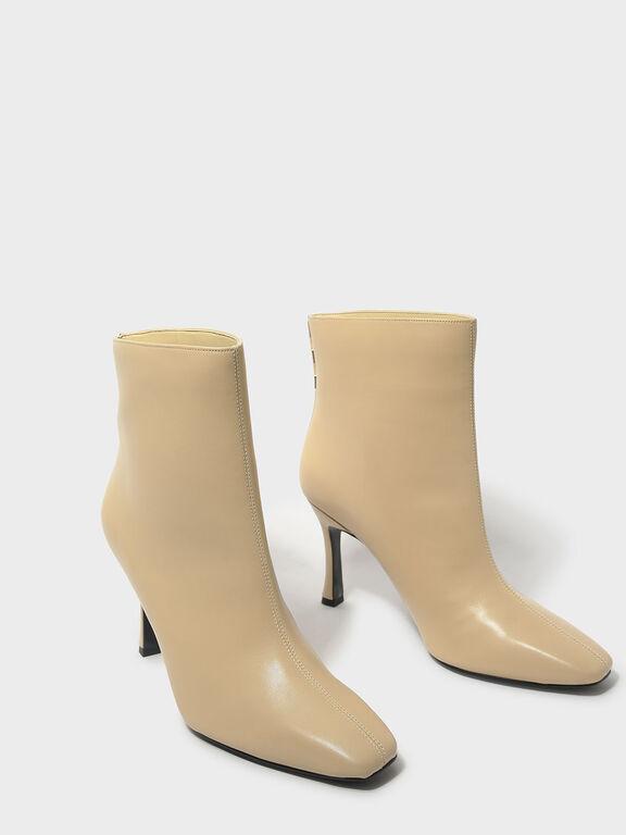 Mini Square Toe Boots, Nude, hi-res