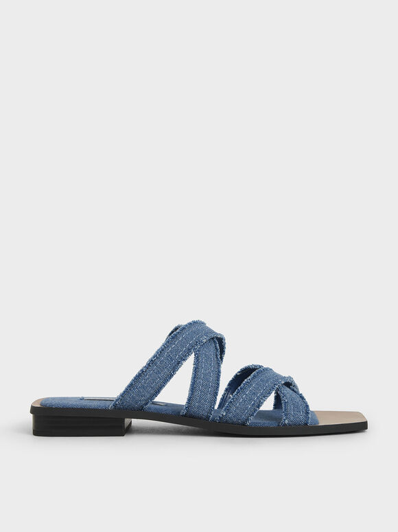 Textured Crossover Flats, Blue, hi-res