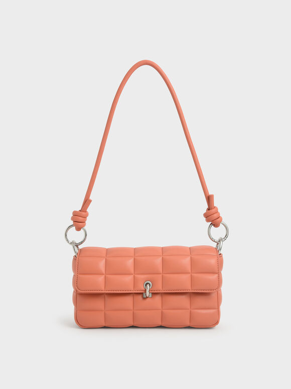 Chunky Chain Handle Quilted Shoulder Bag, Orange, hi-res