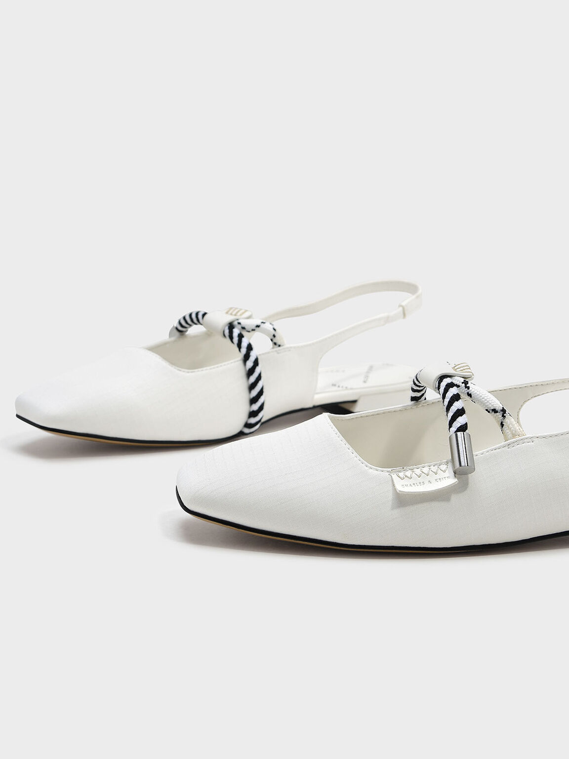 Rope Detail Slingback Flats, White, hi-res