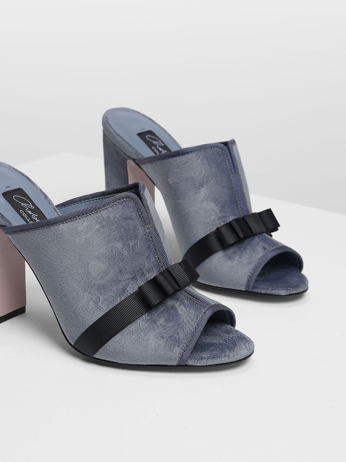 Bow Detail Velvet Mules, Light Blue, hi-res