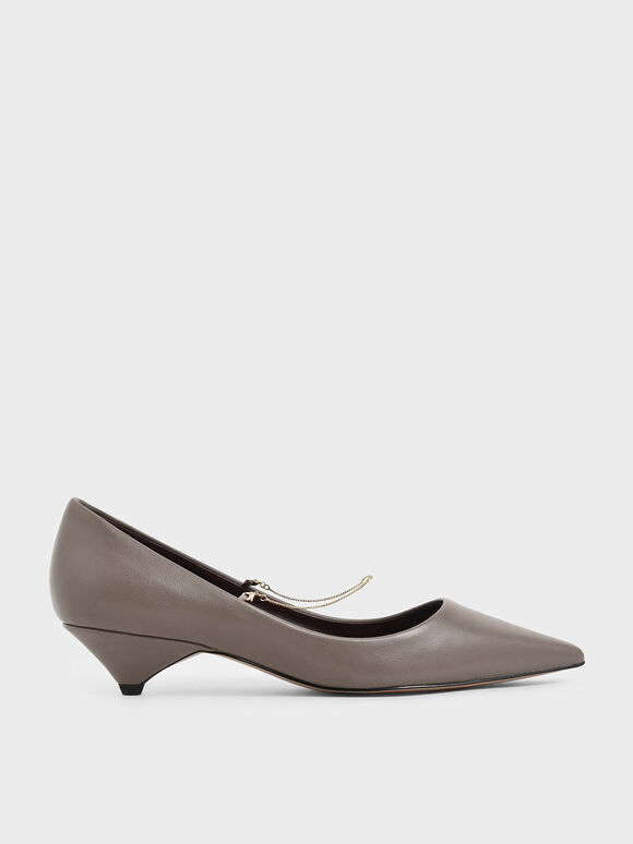 Thin Metal Chain Strap Pumps, Taupe, hi-res