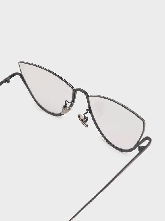 Half Frame Cat-Eye Sunglasses, Grey, hi-res