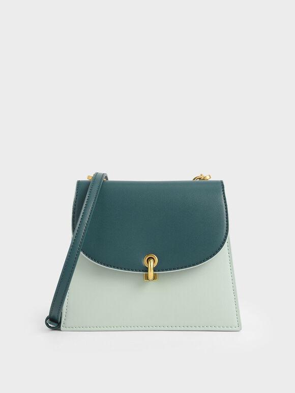 Two-Tone Mini Trapeze Crossbody Bag, Mint Green, hi-res