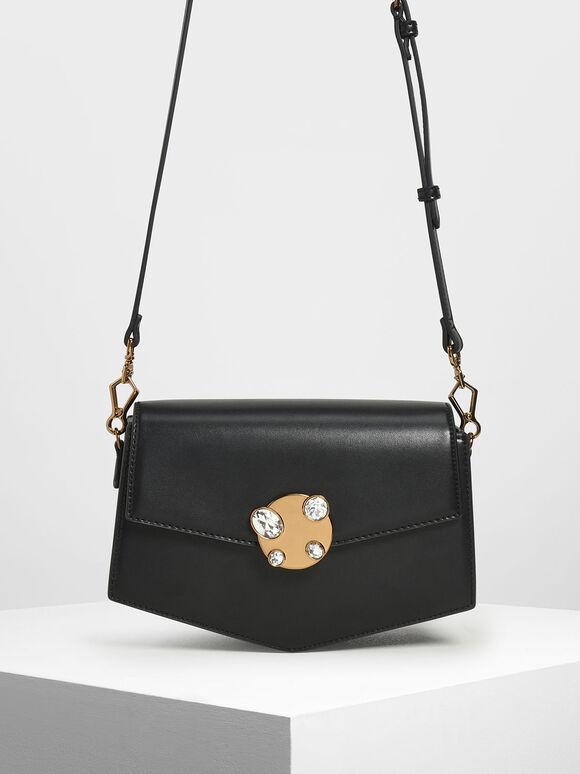 Embellished Push Lock Bag, Black, hi-res