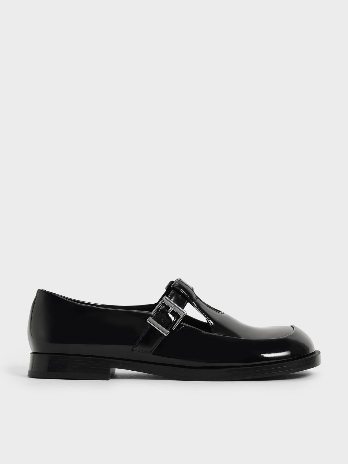 Patent Mary Jane Buckle Loafers, Black, hi-res