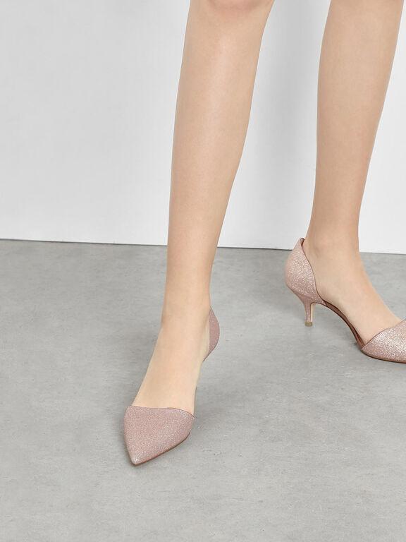 D'Orsay Glitter Fabric Kitten Heel Pumps, Rose Gold