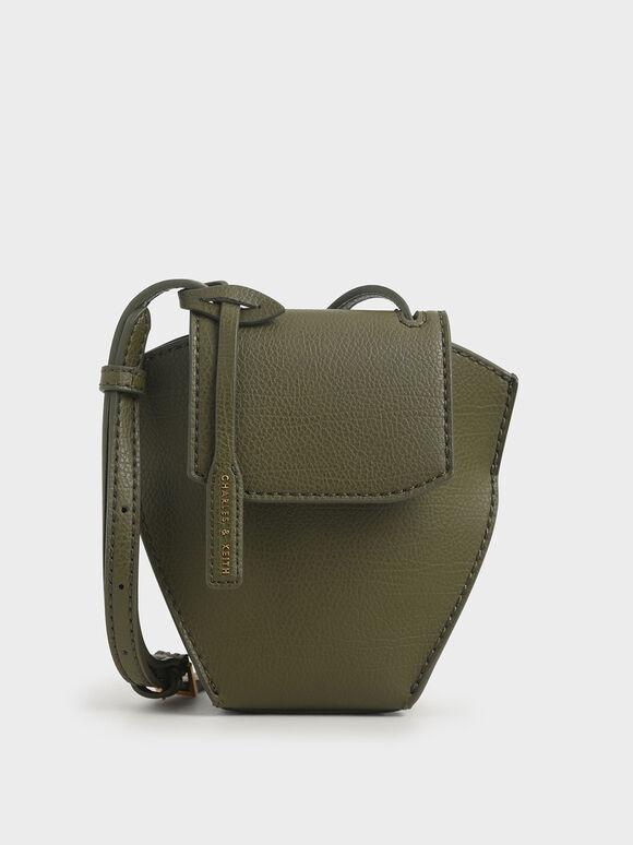 幾何剪裁斜背包, 橄欖色, hi-res