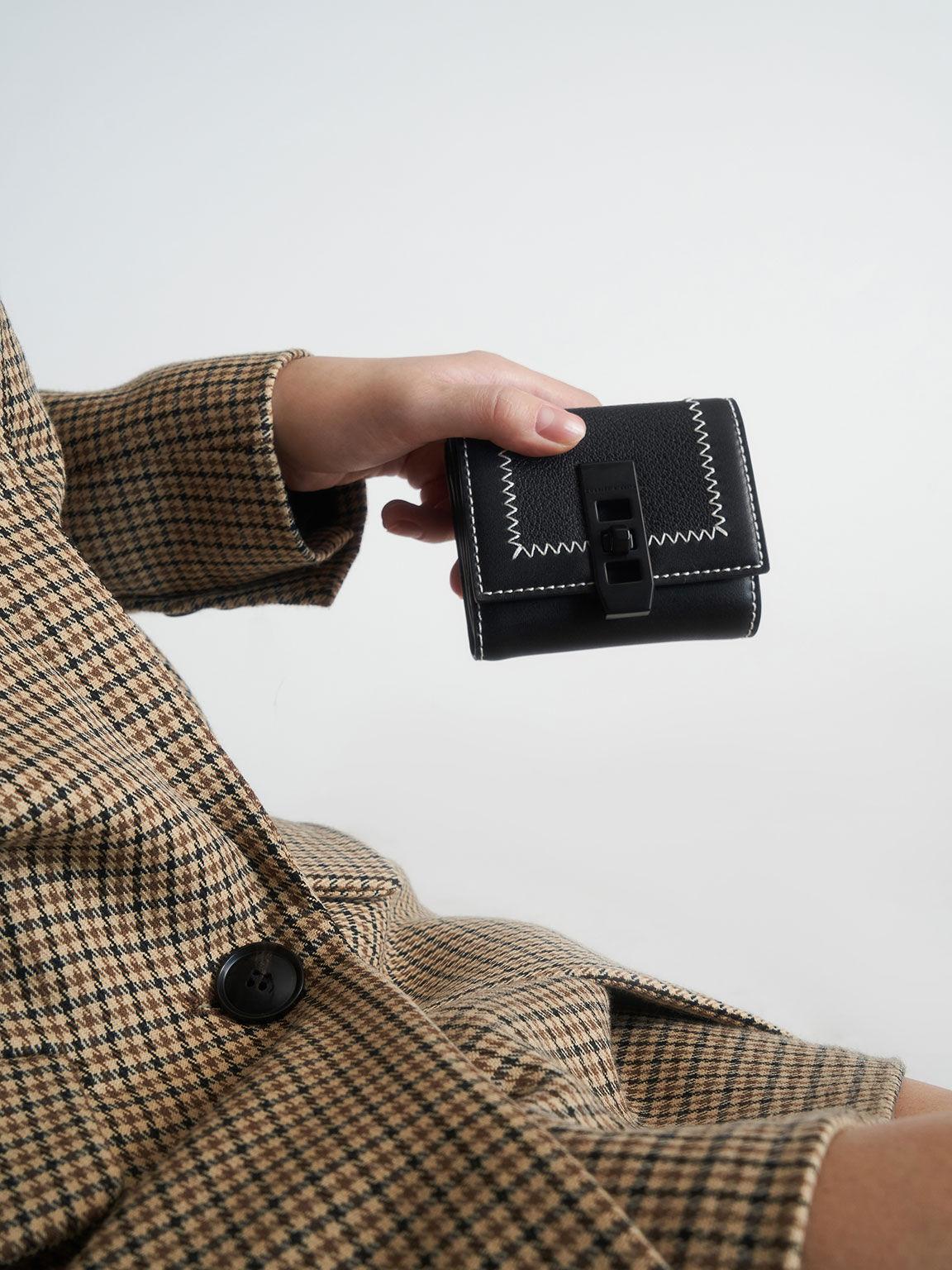 Stitch Trim Turn Lock Wallet, Black, hi-res