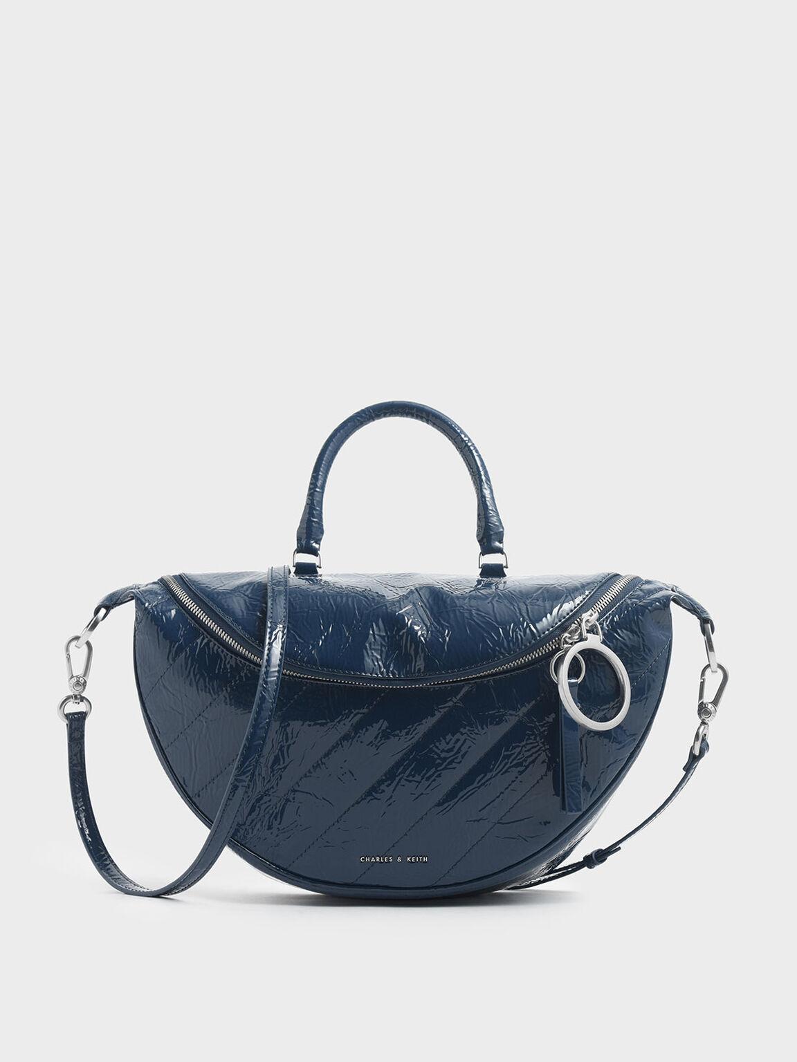 Wrinkled Patent Large Semi-Circle Crossbody Bag, Blue, hi-res
