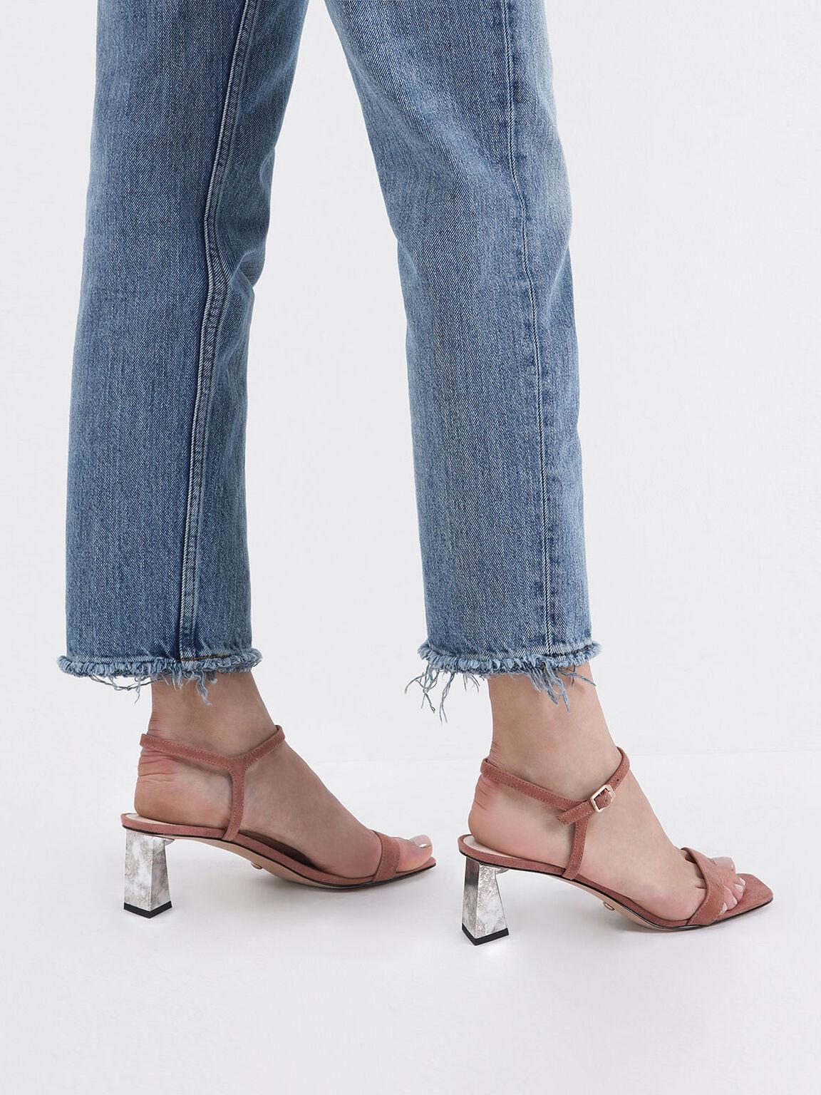 Kid Suede Chrome Heel Sandals, Brick, hi-res