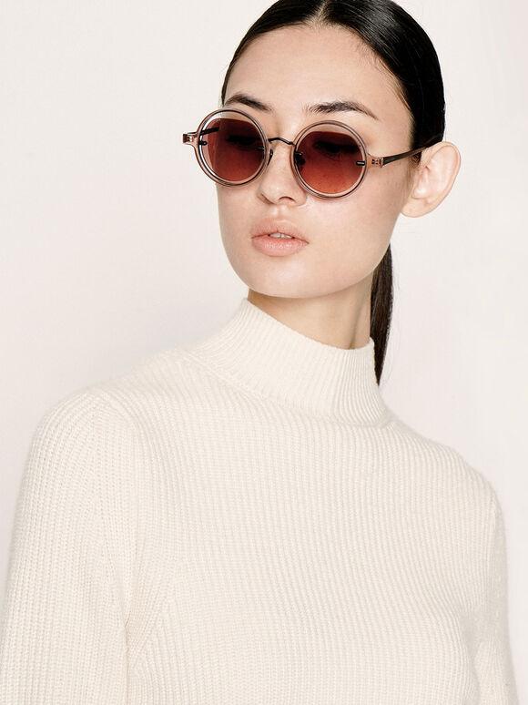 Cut-Out Round Sunglasses, Mauve, hi-res