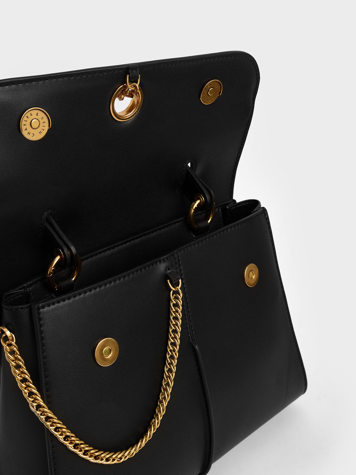 Chain Detail Trapeze Bag, Black, hi-res