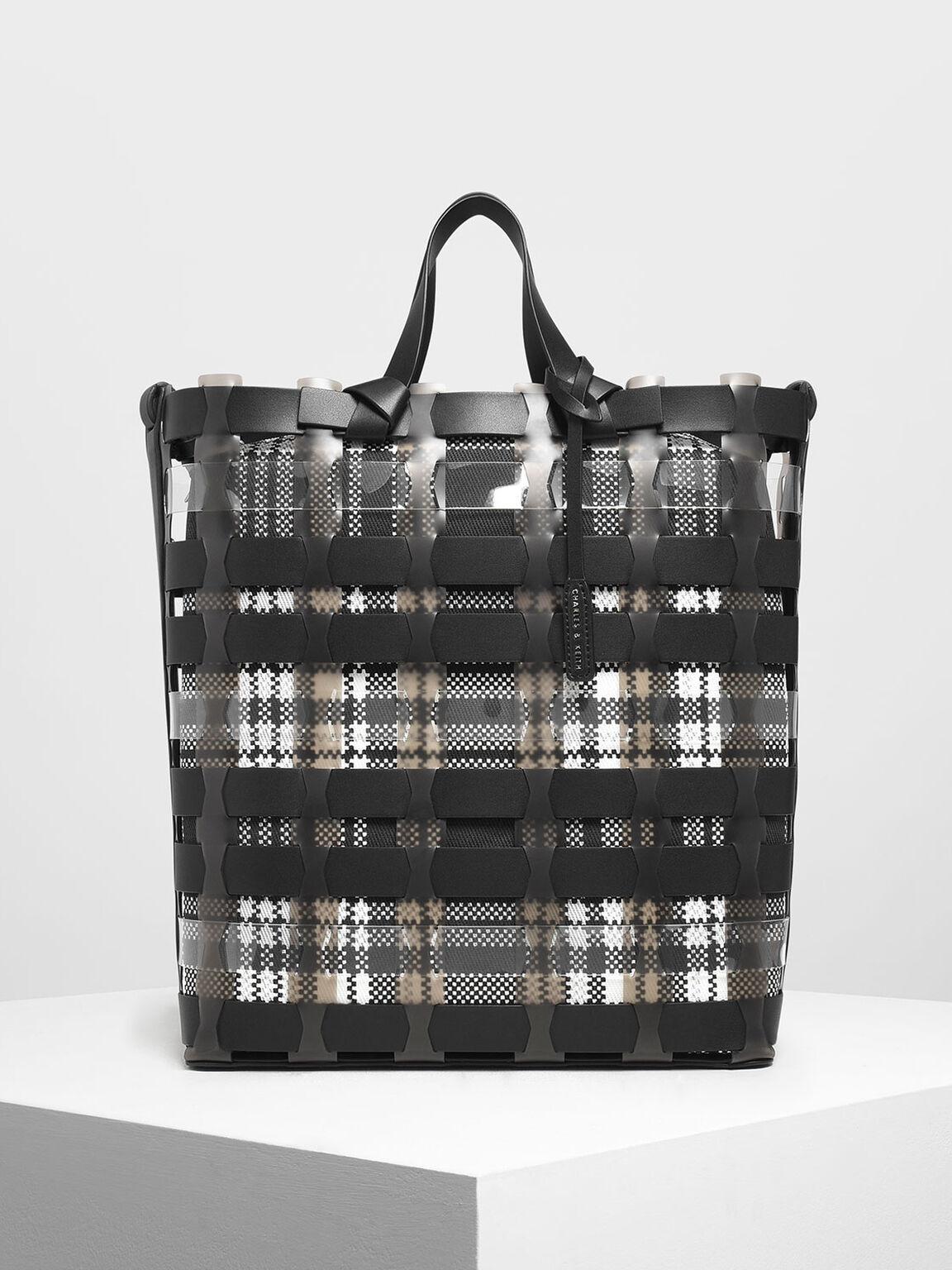 See-Through Woven Tote Bag, Black, hi-res