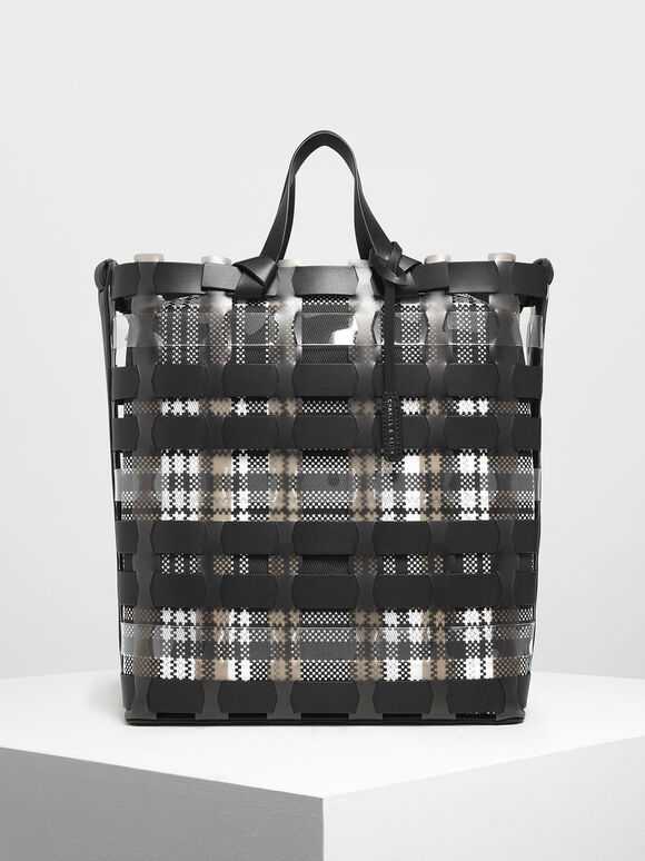 See-Through Woven Tote Bag, Black, hi-res
