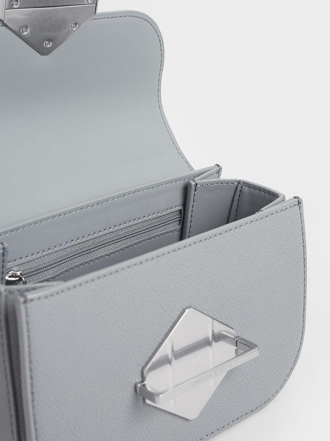 Metallic Accent Mini Top Handle Bag, Grey, hi-res