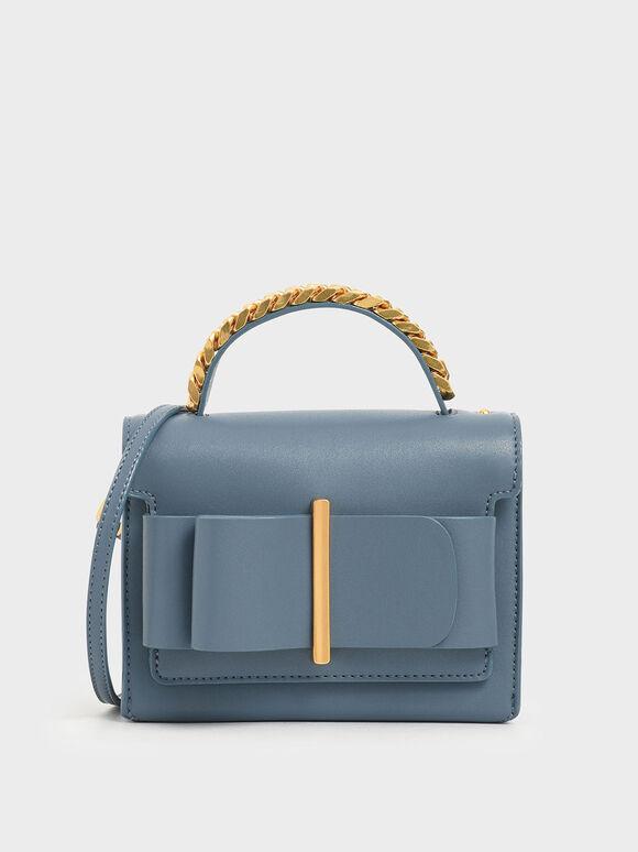 蝴蝶結金屬手提包, 岩藍色, hi-res