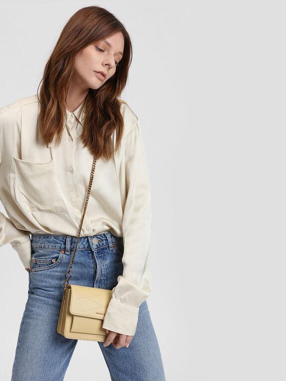 Front Flap Crossbody Bag, Beige, hi-res