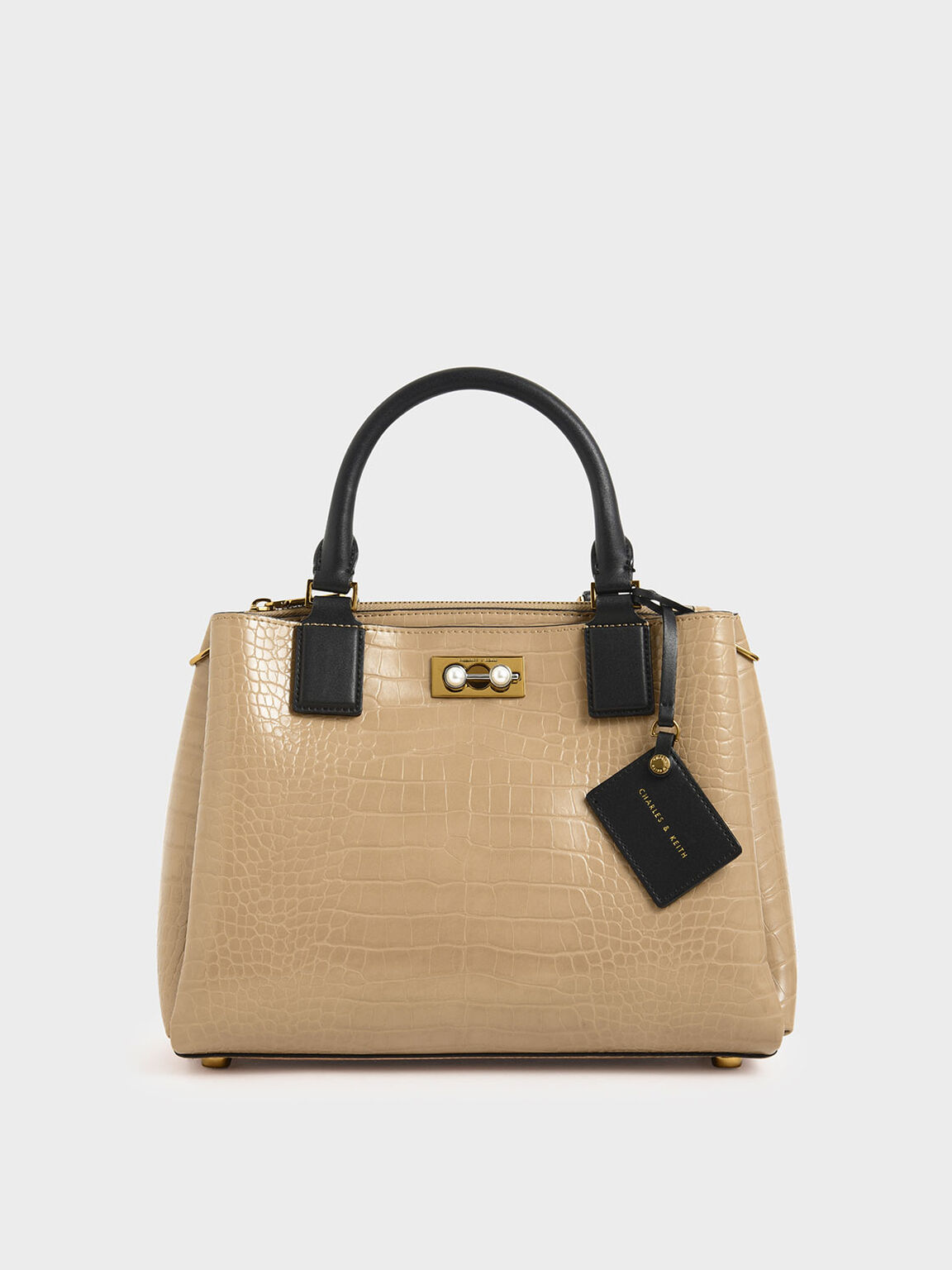 Croc-Effect Large Structured Bag, Beige, hi-res