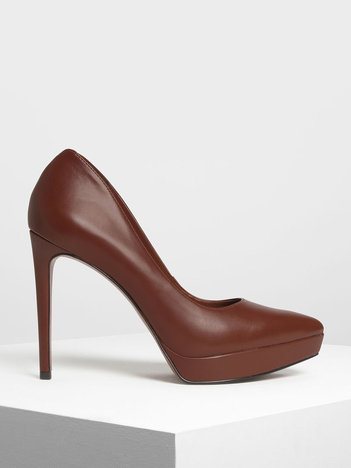 Pointed Toe Platform Pumps, Cognac, hi-res