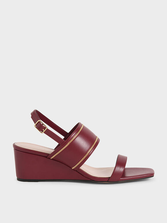 金屬鍊楔型涼鞋, 紅色, hi-res