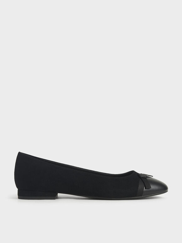 Textured Ribbon Tie Ballet Pumps, Black, hi-res