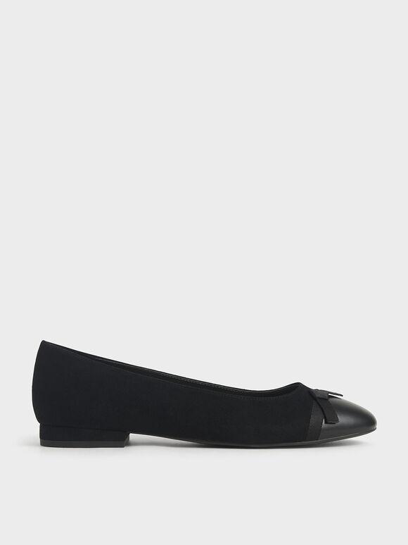 蝴蝶結平底鞋, 黑色, hi-res