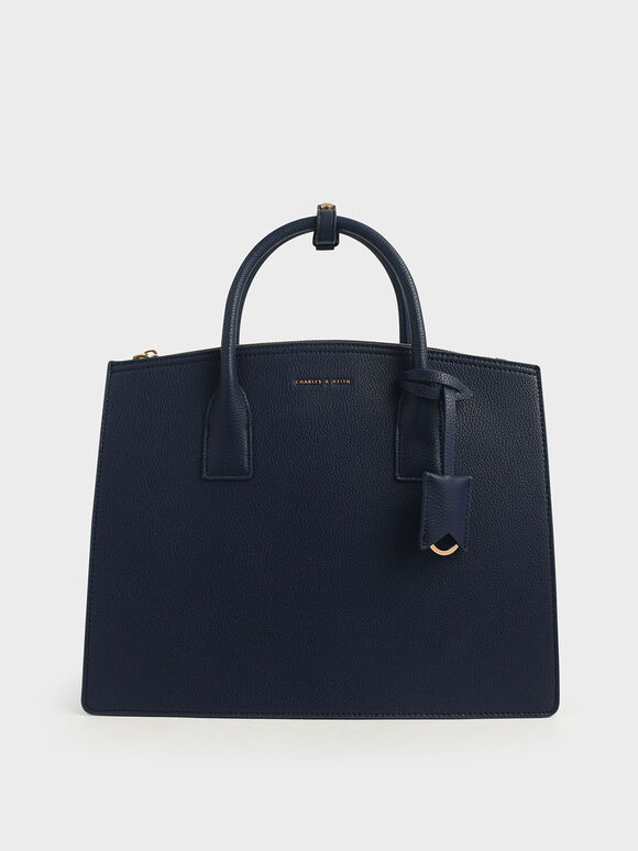 Large Structured Tote Bag, Dark Blue, hi-res