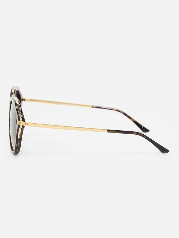 Angular Oval Sunglasses, T. Shell, hi-res
