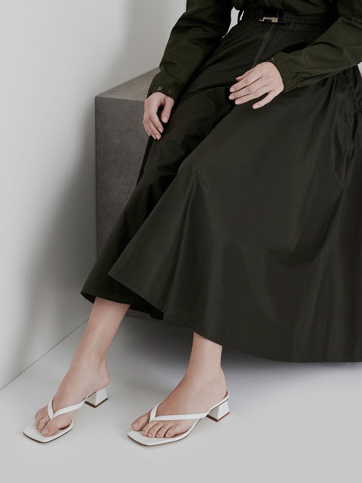 Thong Heeled Sandals, White, hi-res