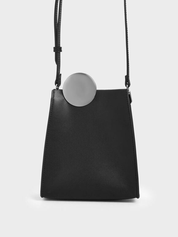 Chrome Detail Leather Crossbody Bag, Black, hi-res