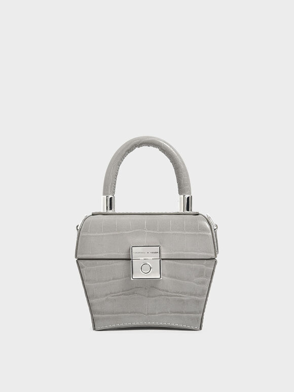Croc-Effect Mini Sculptural Bag, Light Grey, hi-res
