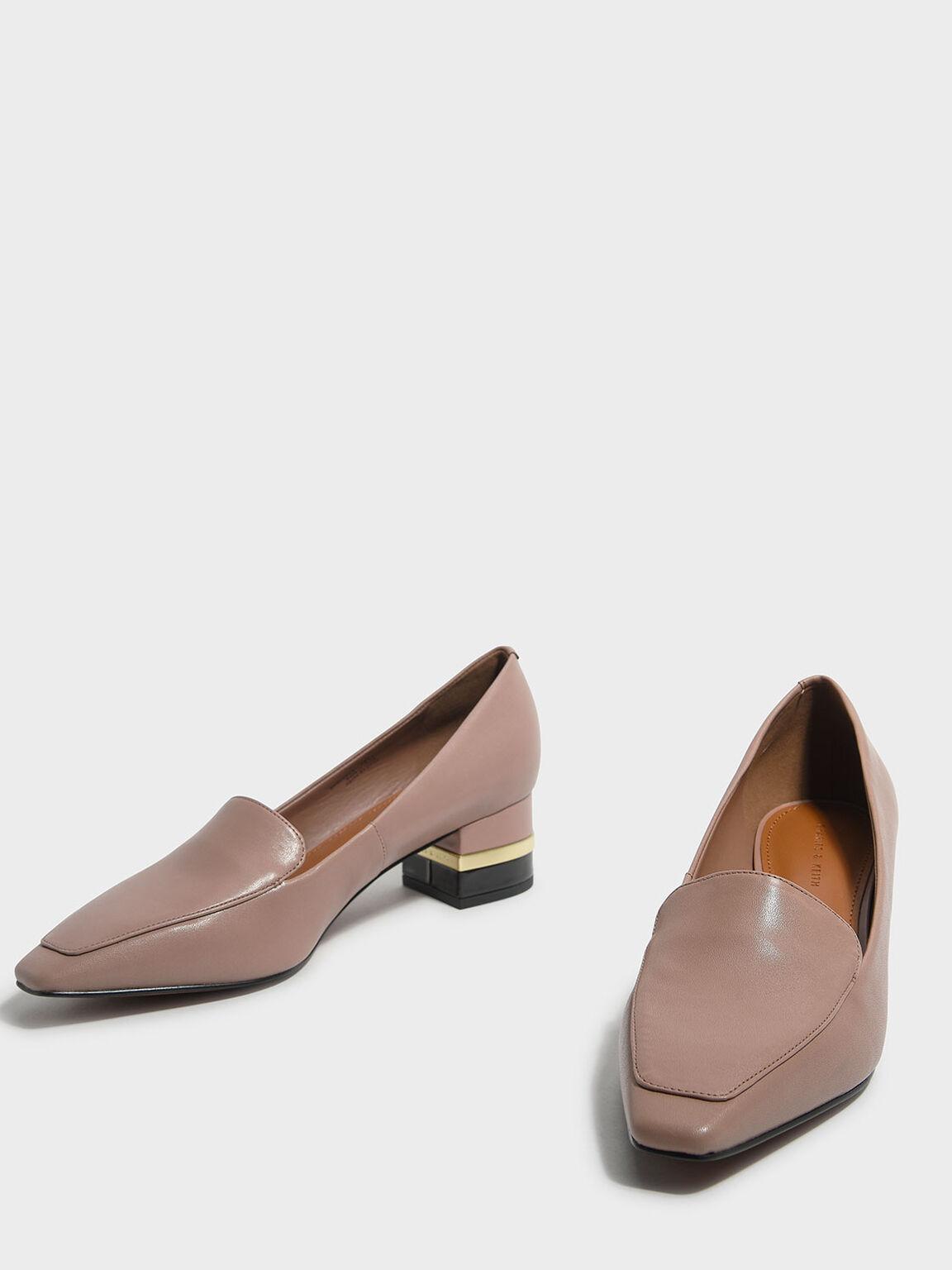 Metallic Accent Heel Loafers, Nude, hi-res