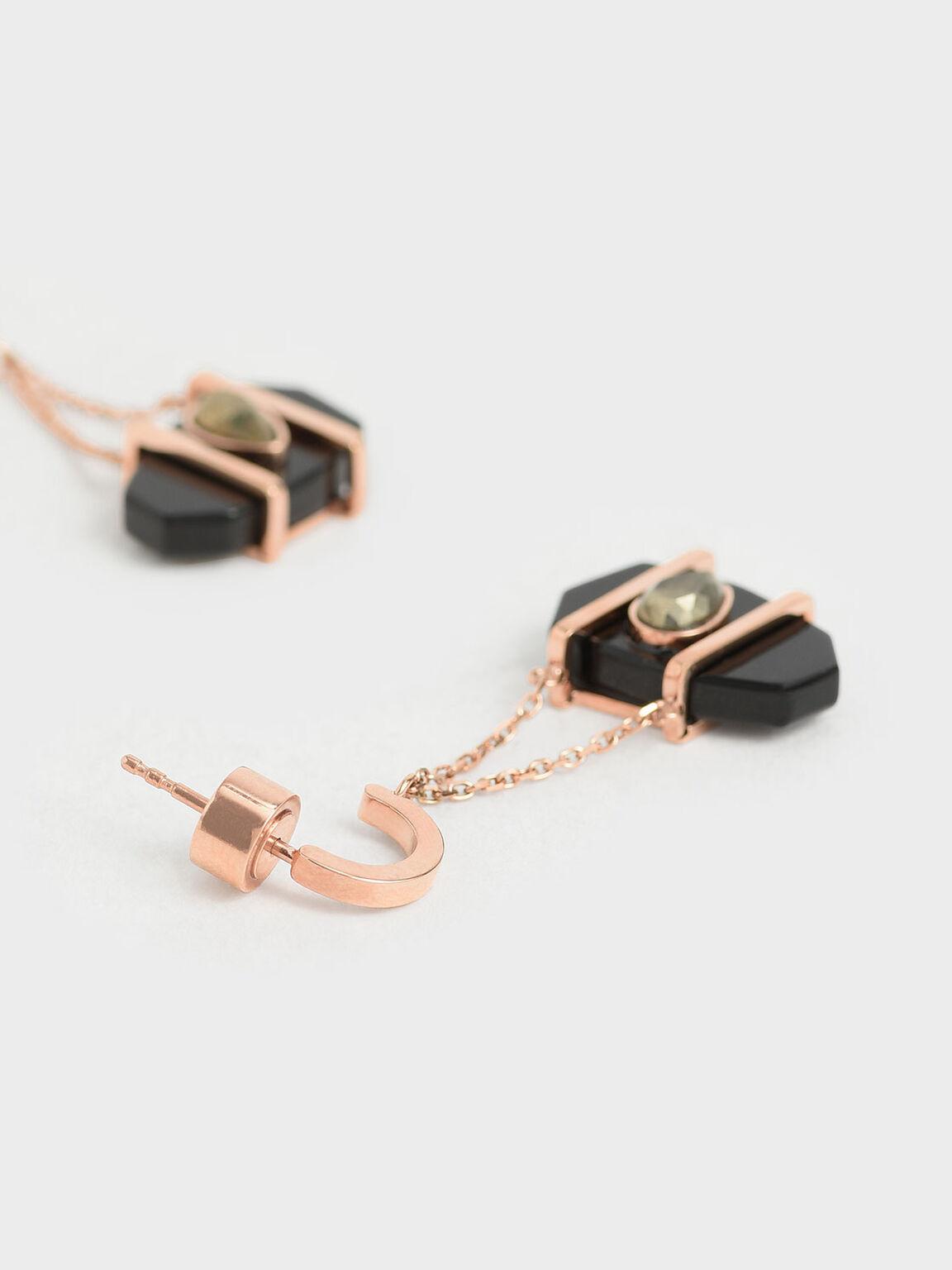 Onyx & Pyrite Gemstone Drop Earrings, Black, hi-res