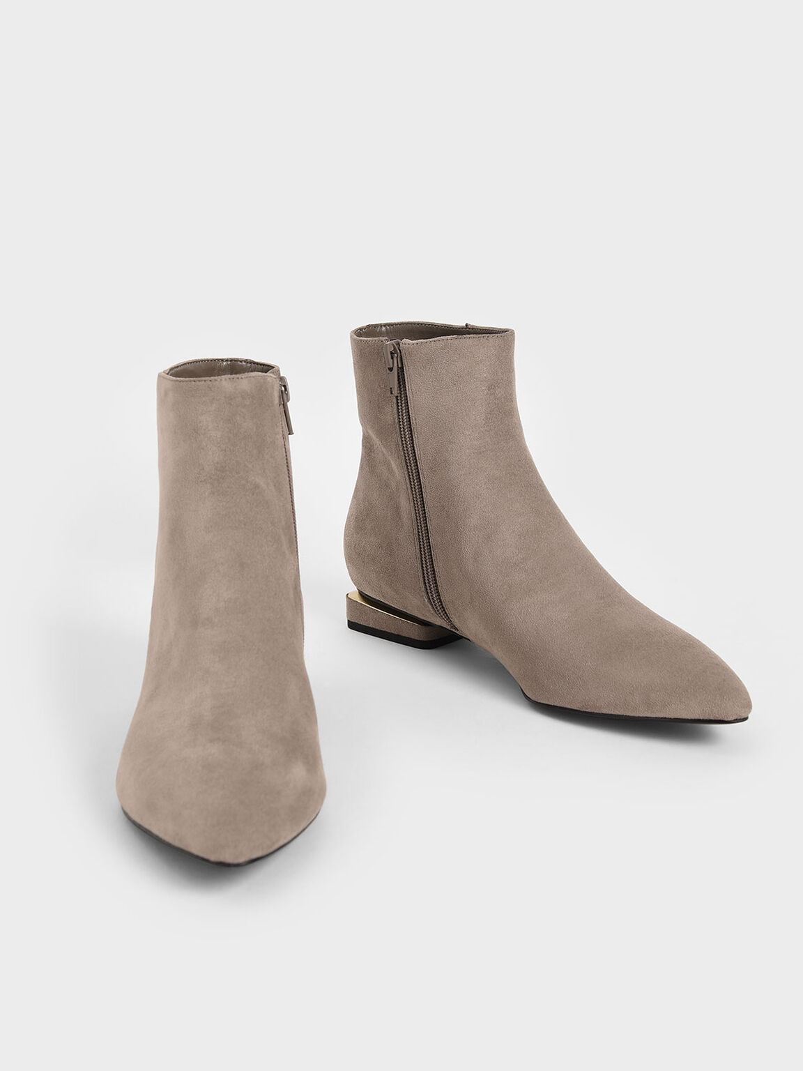 Textured Metallic Accent Ankle Boots, Taupe, hi-res