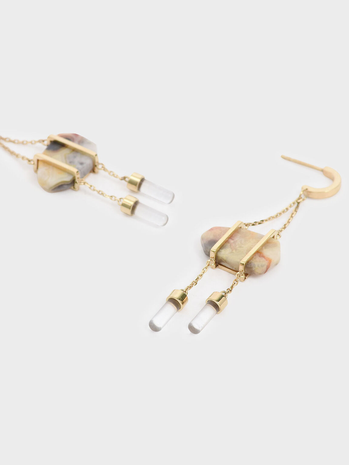 Crazy Agate Stone Dangle Earrings, Gold, hi-res