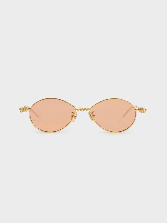 Twine Detail Oval Sunglasses, Orange, hi-res