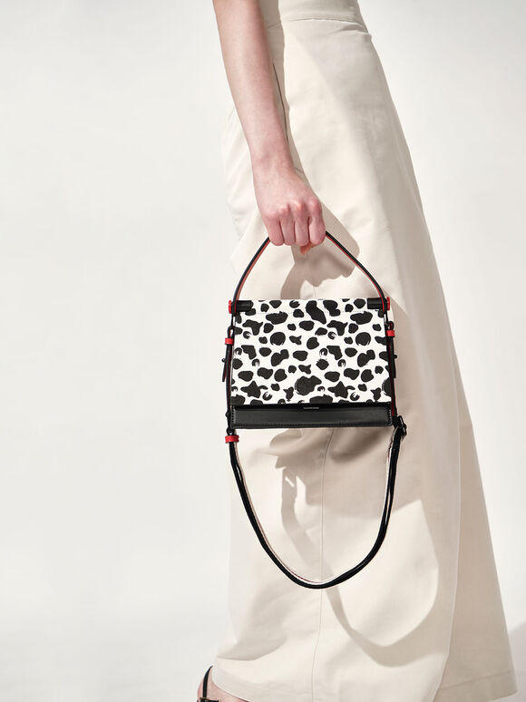 Cow Print Sculptural Bag, Multi, hi-res