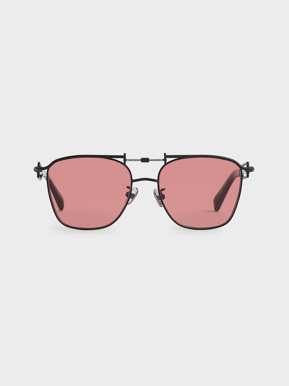 Square Double Bridge Sunglasses, Red, hi-res
