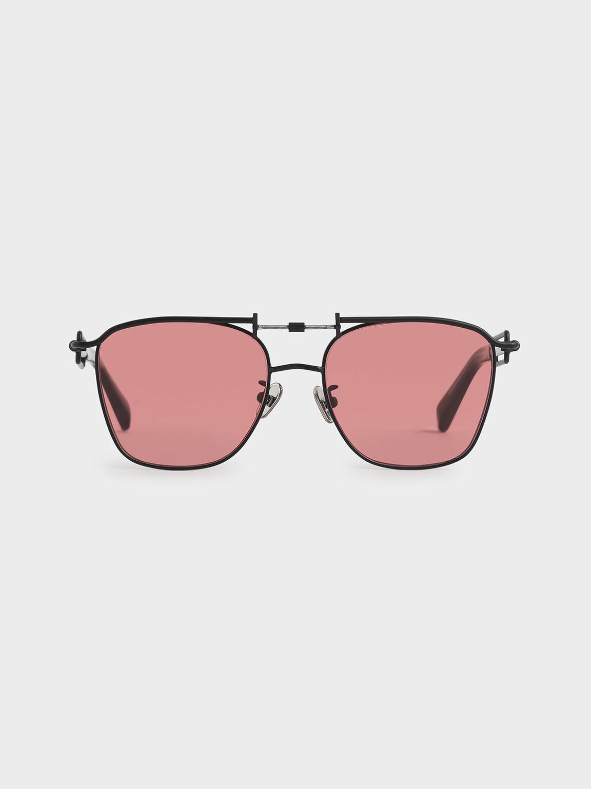 立體框飛行員墨鏡, 紅色, hi-res