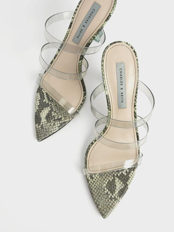 Snake Print Clear Strap Sculptural Heel Sandals, Animal Print Green, hi-res