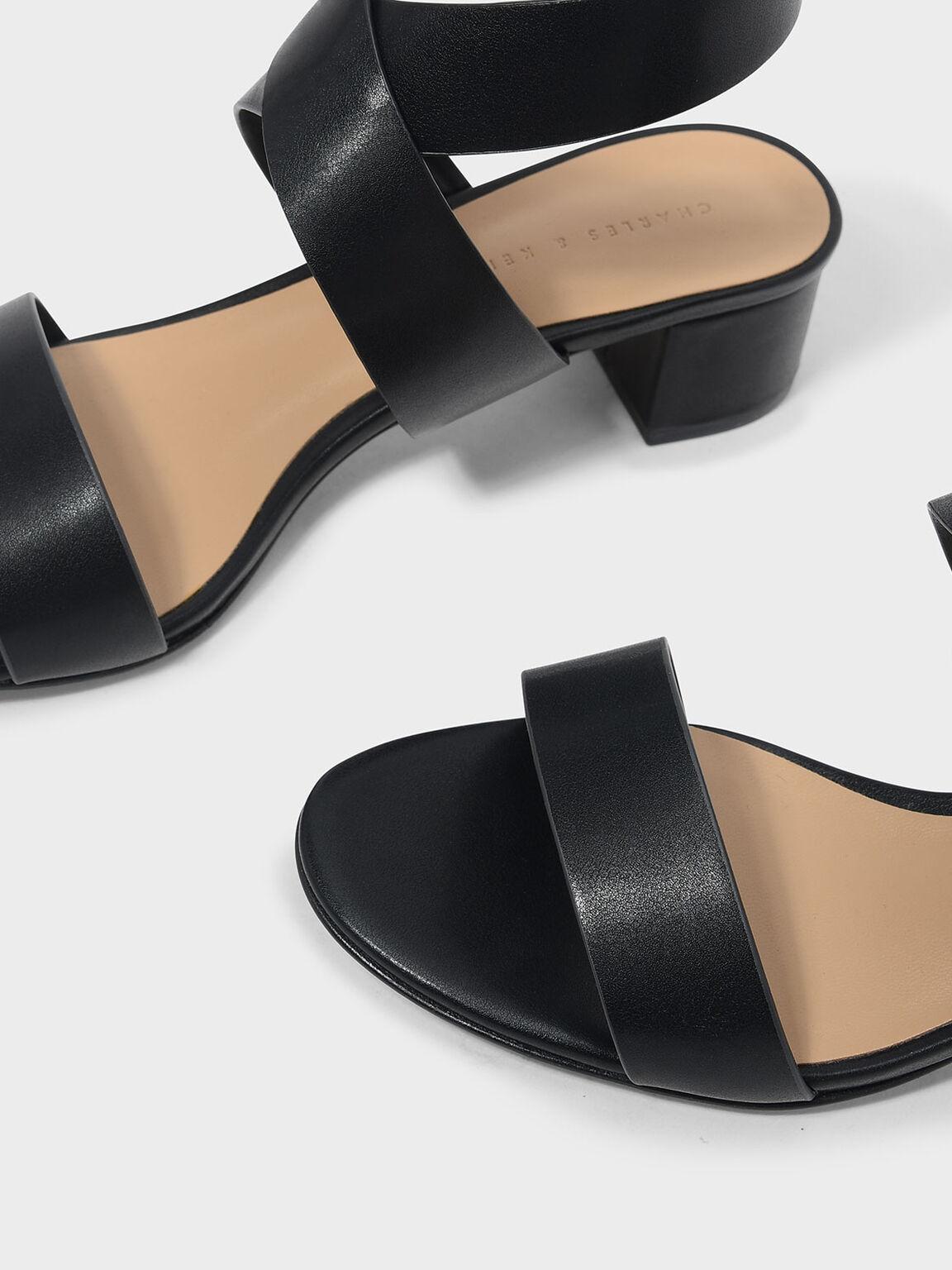 交叉踝帶涼鞋, 黑色, hi-res