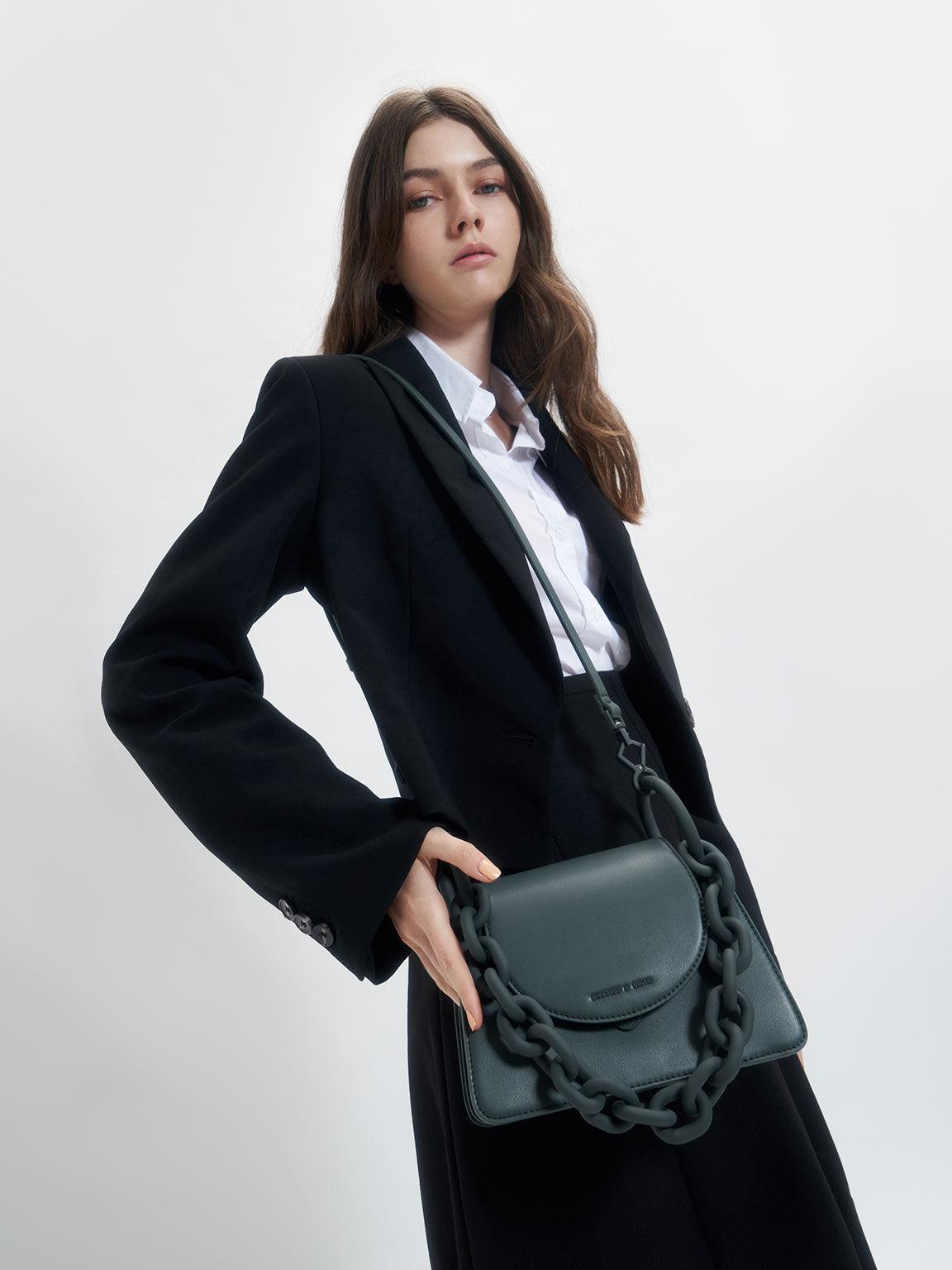 Circular Flap Trapeze Bag, Teal, hi-res